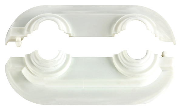 Doppelrosetten Aus Kunststoff DUO-CutLine Weiss 50mm